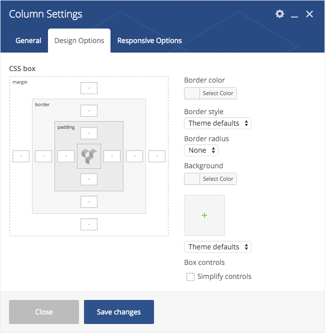 Column Settings Design Options