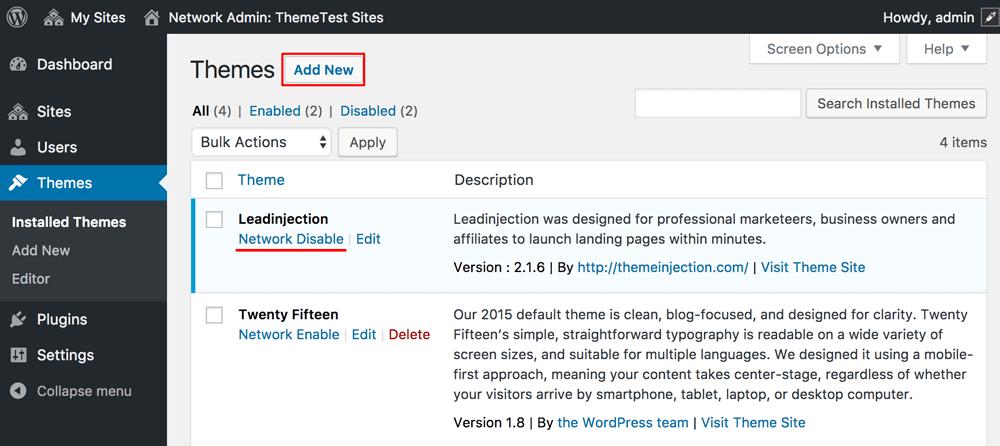 Wordpress Network Add Theme