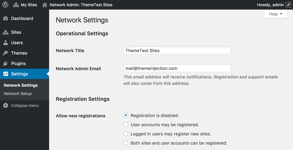 Wordpress Network Admin Settings