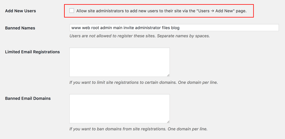Wordpress Network Registration Add New User