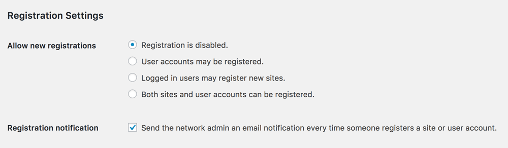 Wordpress Network Registration Settings