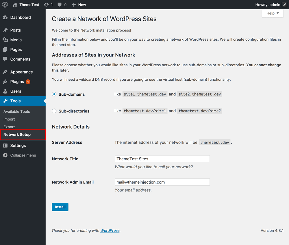 Wordpress Network Setup
