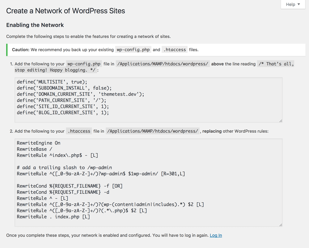 Wordpress Network Setup Code